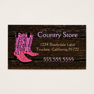 Pink Cowboy Boots-Western Theme Business Card