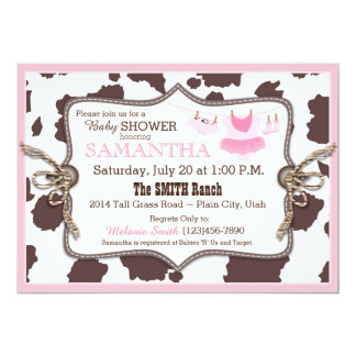 Pink Cowgirl Baby Shower Tutu 5x7 Paper Invitation Card