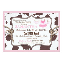 Pink Cowgirl Baby Shower Tutu Card