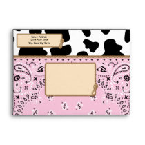 Pink Cowgirl, Bandana Style A7 Envelopes