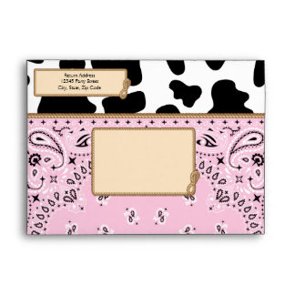 Pink Cowgirl, Bandana Style A7 Envelopes