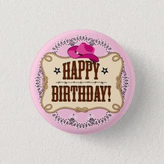 Pink Cowgirl Birthday Button
