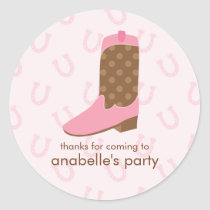 Pink Cowgirl Boot Birthday Party Classic Round Sticker
