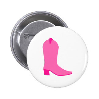 Pink Cowgirl Boot 2 Inch Round Button