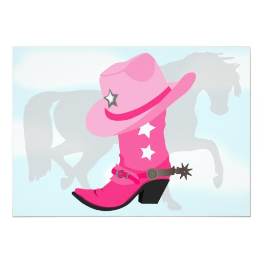 Pink Cowgirl Boot, Hat and Horse Birthday Party Card