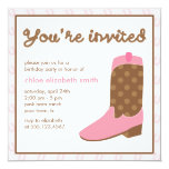 Pink Cowgirl Boot Western Birthday Party Custom Invites