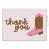 Pink Cowgirl Boot Western Party Thank You Notes Greeting Card