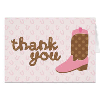 Pink Cowgirl Boot Western Party Thank You Notes Stationery Note Card