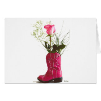 Pink Cowgirl Boot Western Rose Notecard Postcard Greeting Card
