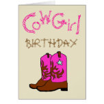 Pink Cowgirl Boots Birthday Invitation Greeting Card