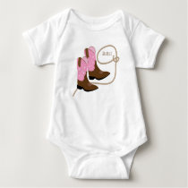Pink Cowgirl Boots & Lasso Rope, Personalized Baby Bodysuit