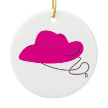 Pink Cowgirl Hat Ceramic Ornament