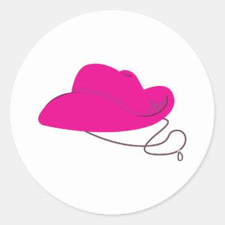 Pink Cowgirl Hat Classic Round Sticker