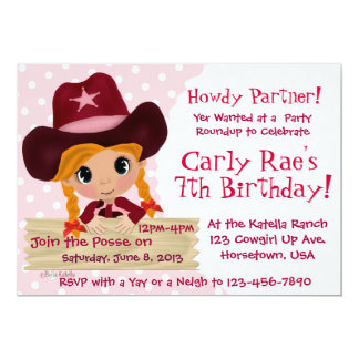 Pink Cowgirl Party 5x7 Paper Invitation Card
