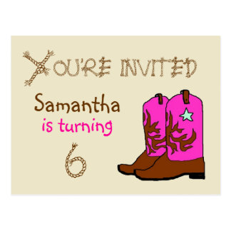 Pink Cowgirl Party Invitation Postcards