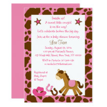 Pink Cowgirl Pony Baby Shower Card