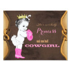 Pink Cowgirl Princess Baby Shower Card
