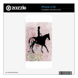 Pink Cowgirl Riding Western Horse Decals For The iPhone 4