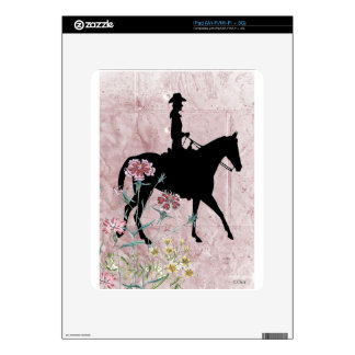 Pink Cowgirl Riding Western Horse Skin For iPad