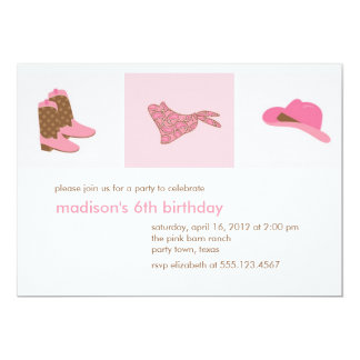Pink Cowgirl Western Birthday Party Card