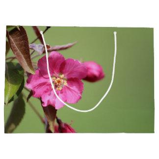 Pink Crab Apple Blossom on Green Background Large Gift Bag