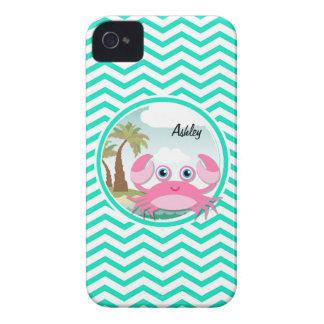 Pink Crab; Aqua Green Chevron iPhone 4 Case-Mate Case