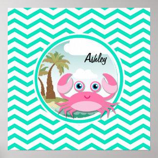 Pink Crab; Aqua Green Chevron Poster