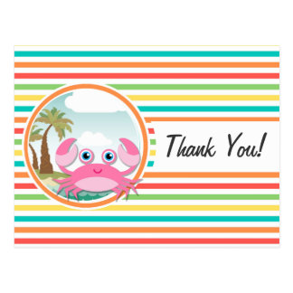 Pink Crab; Bright Rainbow Stripes Post Cards