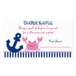 Pink Crab Diaper Raffle Tickets Business Card Templates