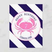 Pink Crab Nautical Birthday Invitation