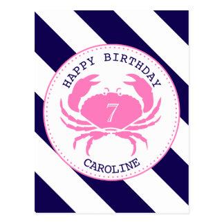 Pink Crab Nautical Birthday Invitation Postcard
