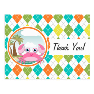 Pink Crab on Colorful Argyle Pattern Post Cards