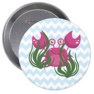 Pink Crab Peeking Through the Seaweed Button