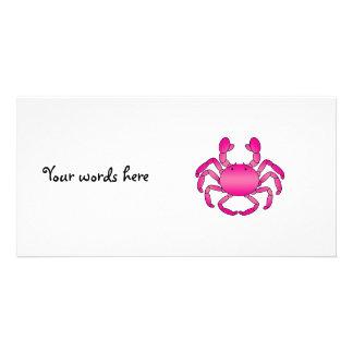 Pink crab photo card