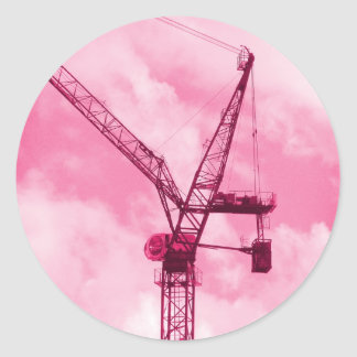 Pink Crane Classic Round Sticker