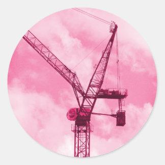Pink Crane Round Sticker
