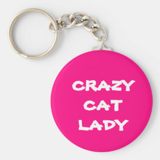 Pink Crazy Cat Lady Keychain