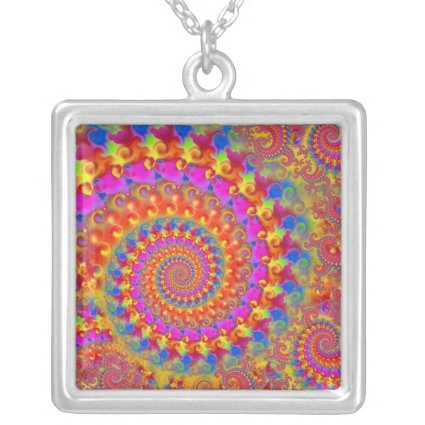 Pink Crazy Fractal Personalized Necklace