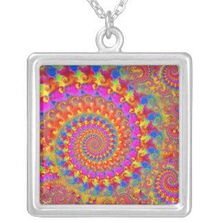Pink Crazy Fractal Square Pendant Necklace