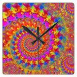 Pink Crazy Fractal Square Wall Clocks