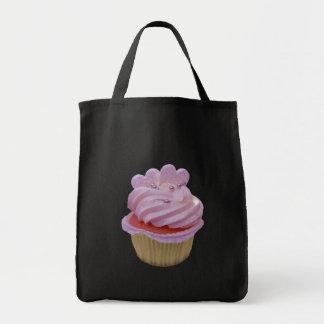 Pink cream and hearts cupcake canvas bag