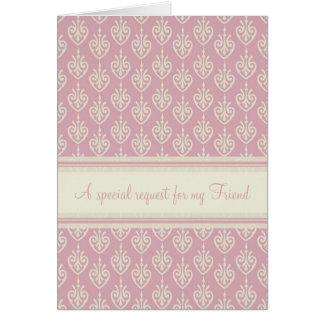 Pink Cream Bridesmaid Friend Invitation Card