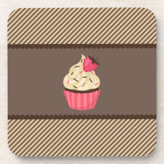Pink Cream Brown Stripes Strawberry Cupcake Drink Coaster