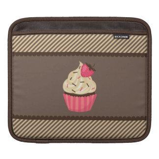Pink Cream Brown Stripes Strawberry Cupcake iPad Sleeve