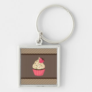 Pink Cream Brown Stripes Strawberry Cupcake Keychain