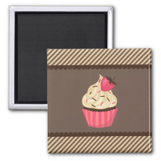 Pink Cream Brown Stripes Strawberry Cupcake Magnet