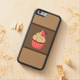 Pink Cream Brown Stripes Strawberry Cupcake Carved® Maple iPhone 6 Bumper
