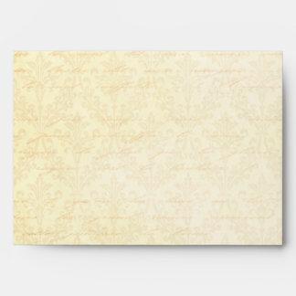 Pink & Cream Damask: Custom Linen Wedding A-7 Envelopes