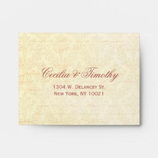 Pink & Cream Damask Wedding RSVP Linen A2 Envelopes