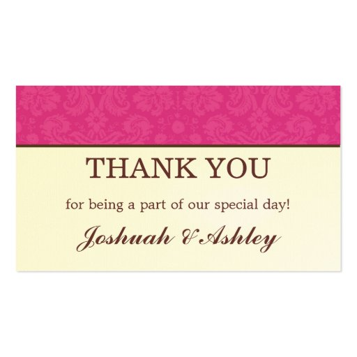 Pink & Cream Design Wedding Table Thank You Cards Business ...